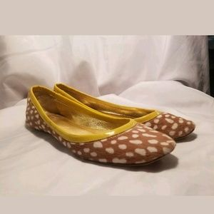 J. Crew Tan & White Leopard Calf Hair 7.5M